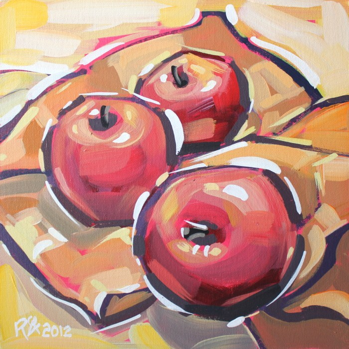"""Apple abstraction 11"" original fine art by Roger Akesson"