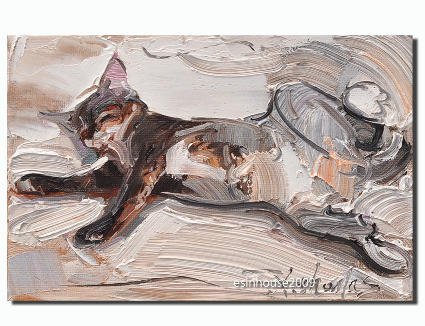 """Sleeping cat"" original fine art by Thomas Xie"