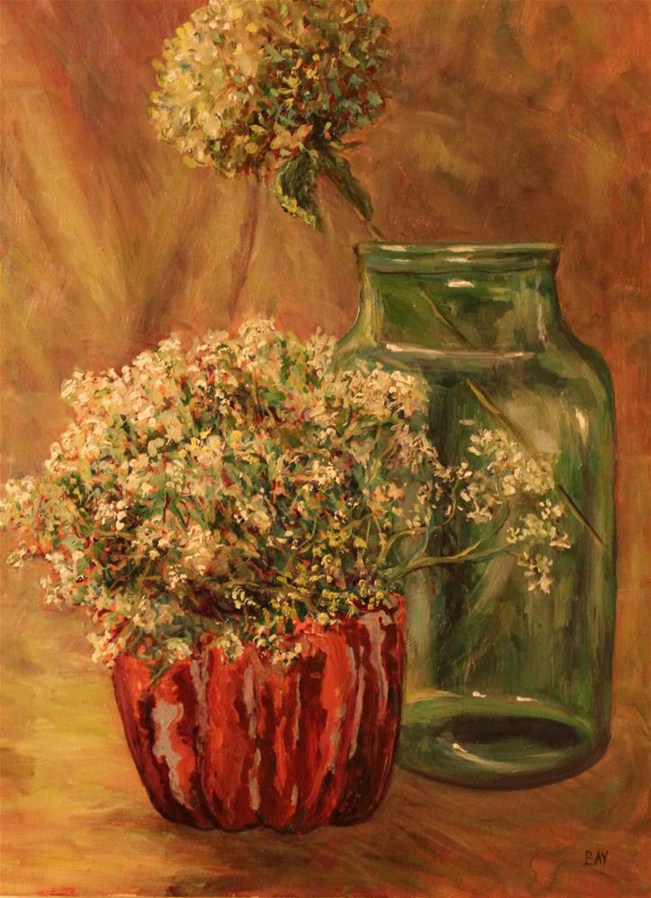 """hungarian pickle jar with hydrangea and artillery fern"" original fine art by barbara yongue"