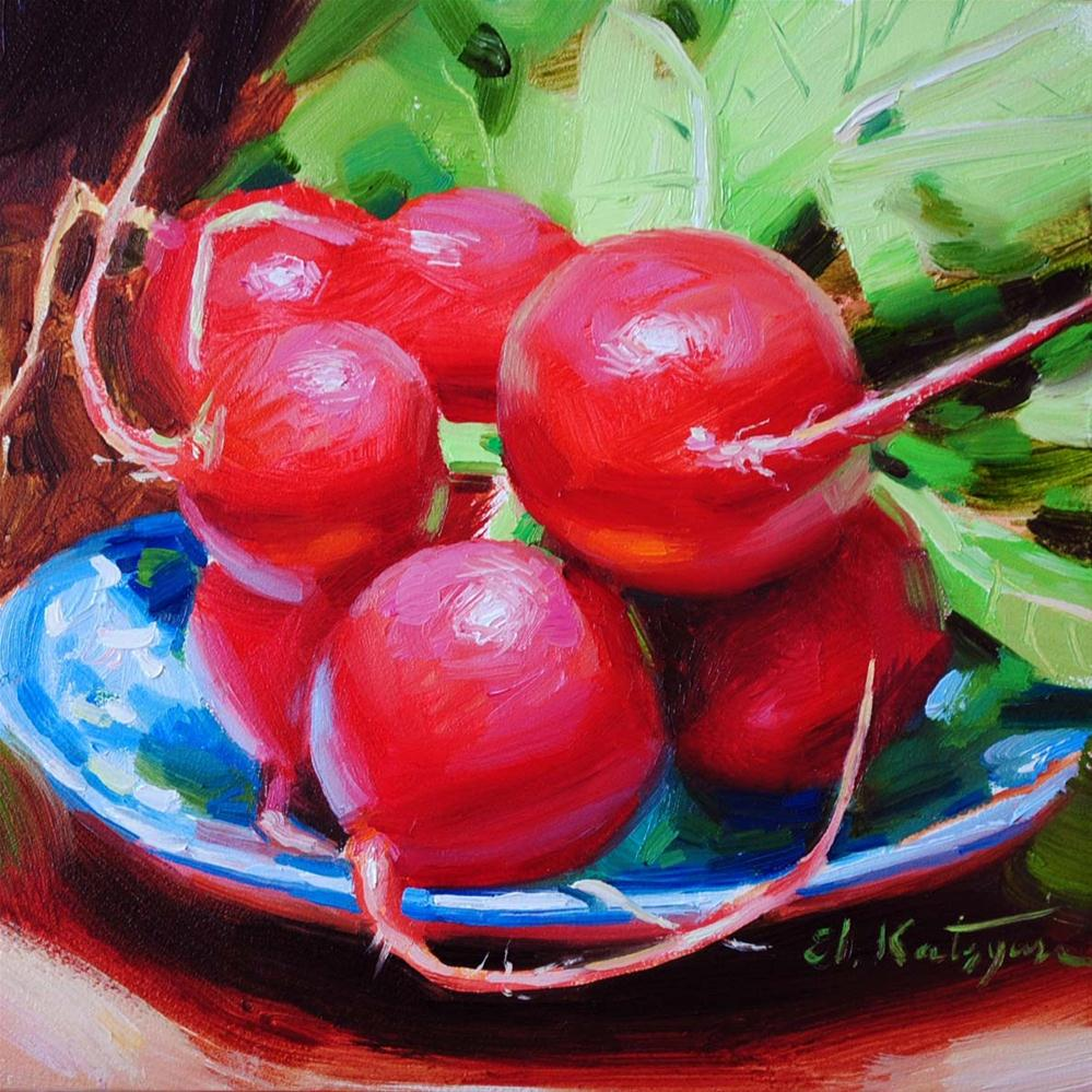 """Radish and Greens"" original fine art by Elena Katsyura"