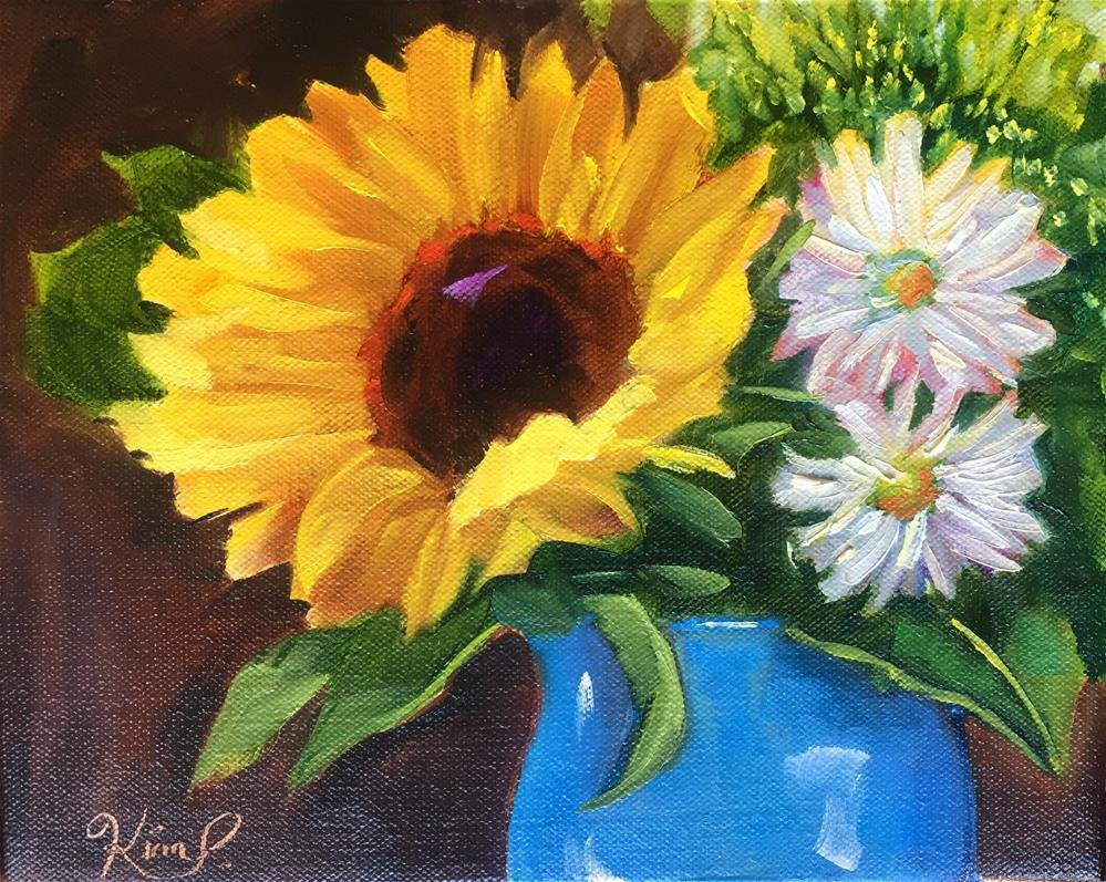 """Sunflower bouquet in blue vase"" original fine art by Kim Peterson"
