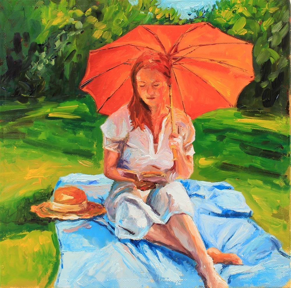 """Girl with orange parasol"" original fine art by Marco Vazquez"