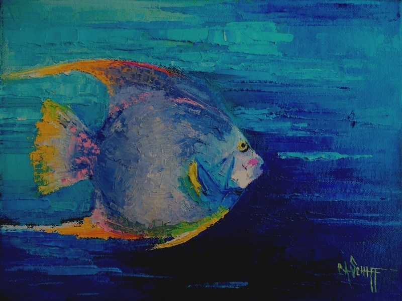 """Tropical Fish Painting, Palette Knife Painting, Daily Painting, Small Oil Painting, 9x12x.75 Oil Pa"" original fine art by Carol Schiff"