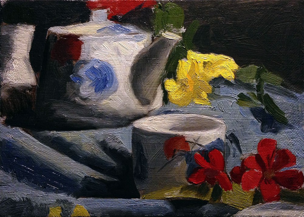"""""""Flowers and China"""" original fine art by Chris Beaven"""