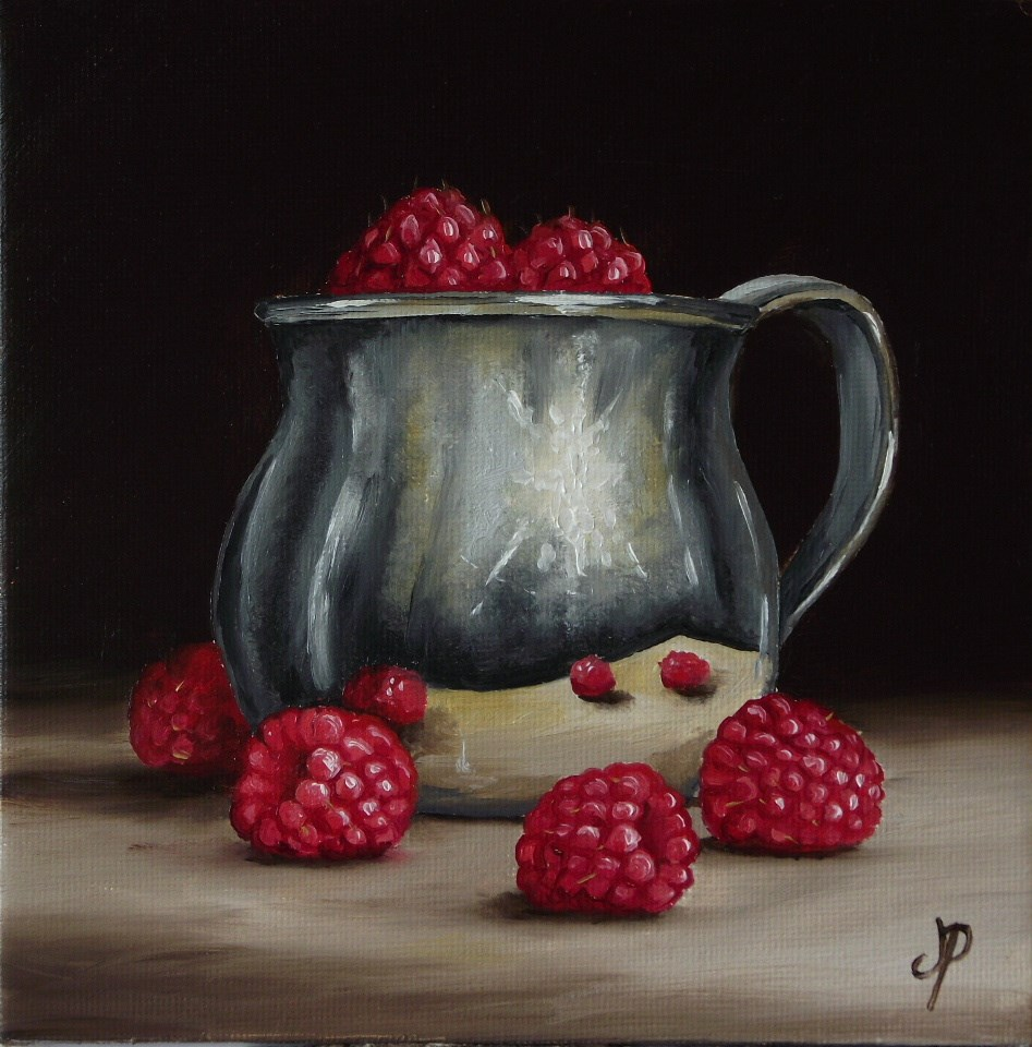 """Silver cup with Raspberries"" original fine art by Jane Palmer"