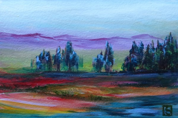 """4044 - Tree Lined Lake"" original fine art by Sea Dean"