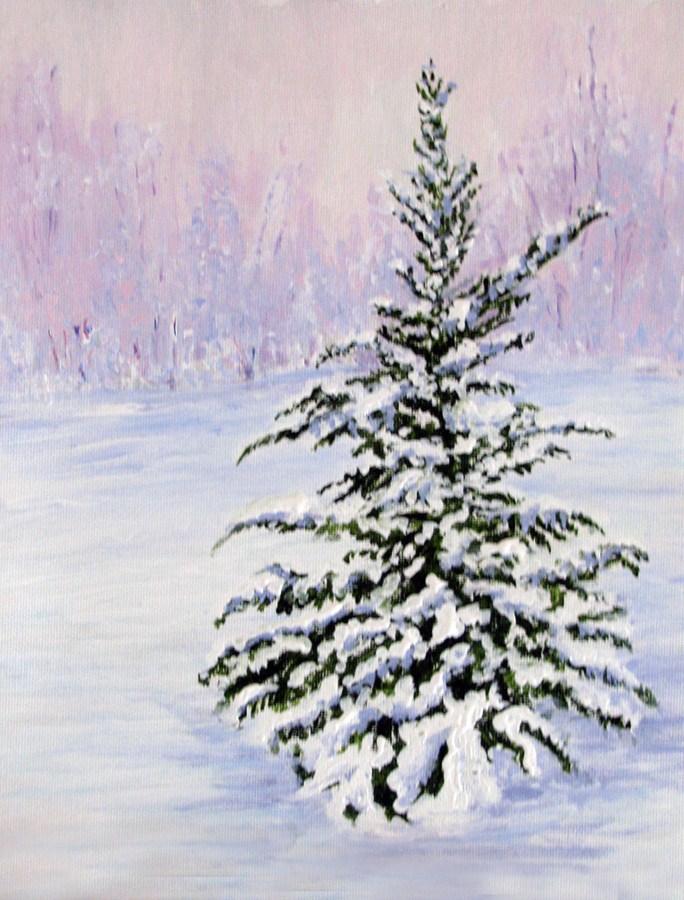 """Snow Tree"" original fine art by Nan Johnson"