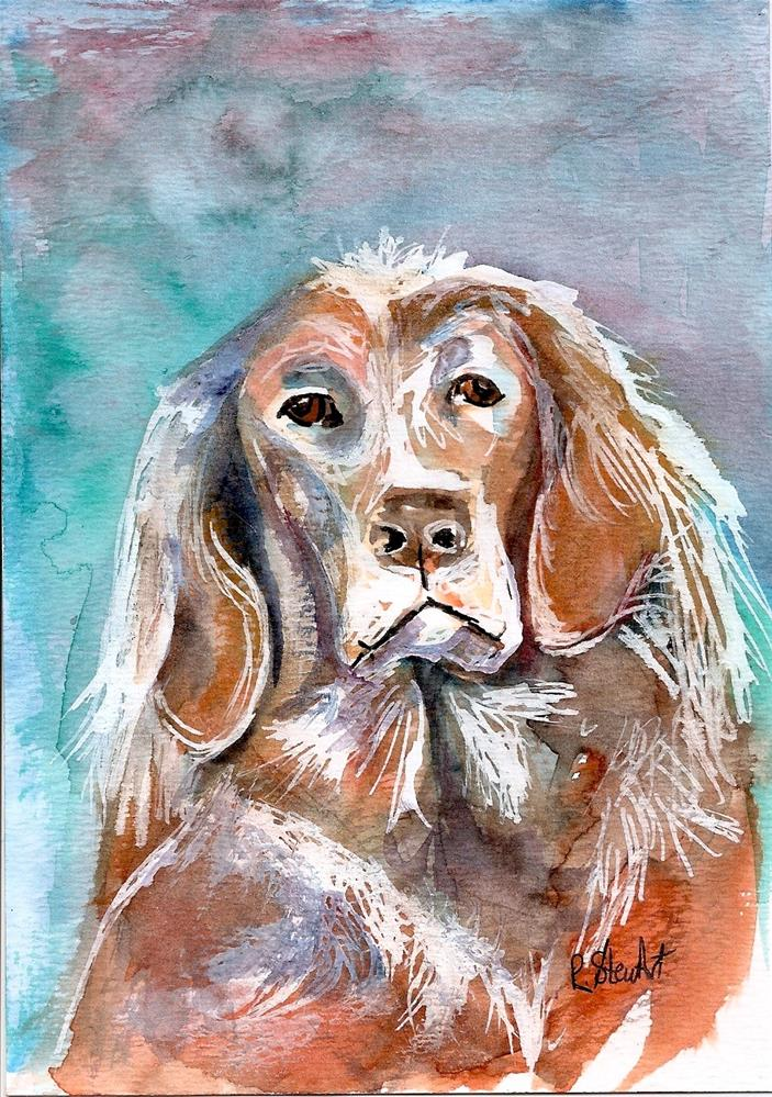 """5x7 Sad Old Dog Pet Portrait Watercolor, Pen and Ink by Penny Lee StewArt"" original fine art by Penny Lee StewArt"