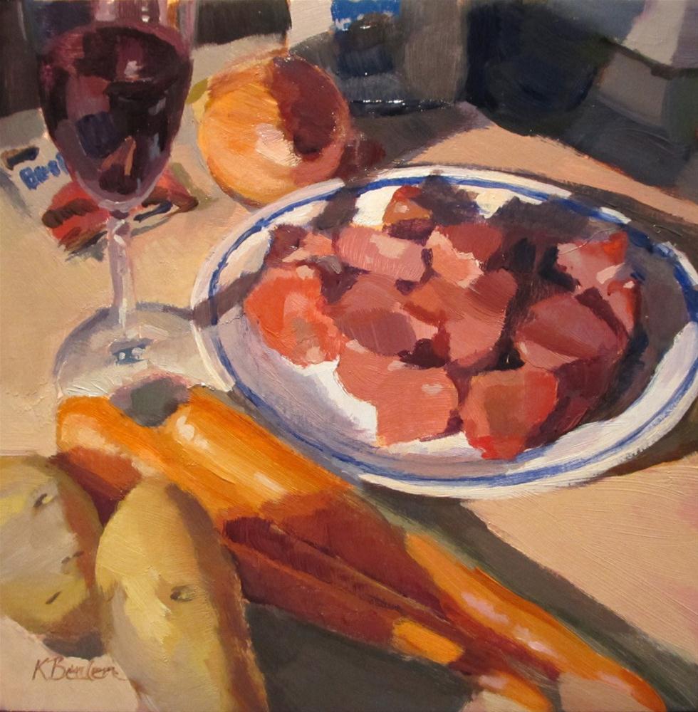 """""""Sunday Dinner Prep"""" original fine art by Kaethe Bealer"""