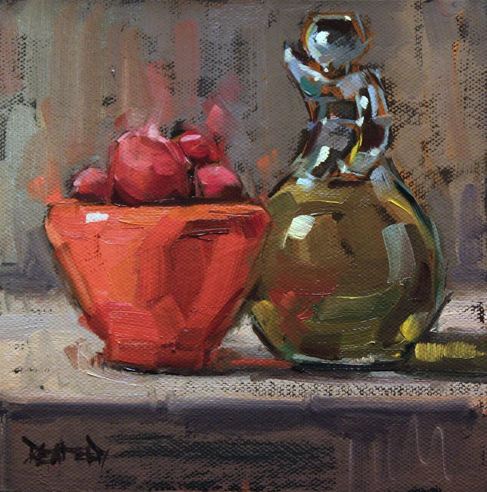 """Olive Oil and Coral Bowl with Italian Plums"" original fine art by Cathleen Rehfeld"