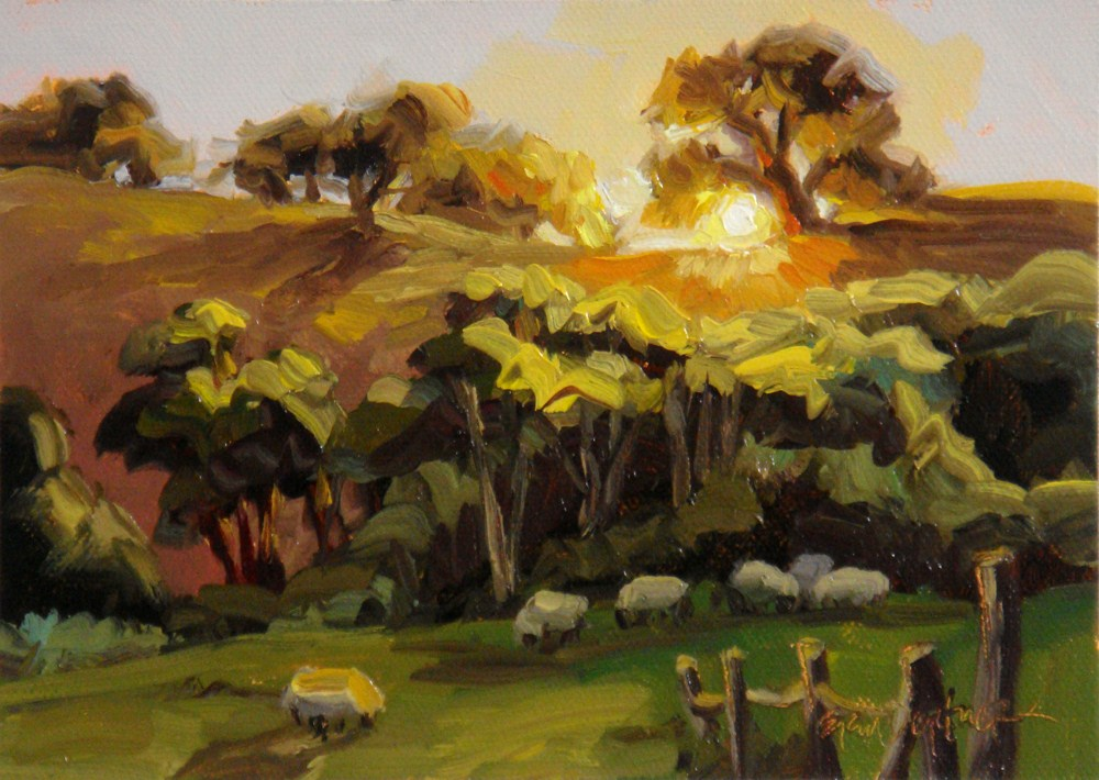 """Country Sundown"" original fine art by Erin Dertner"
