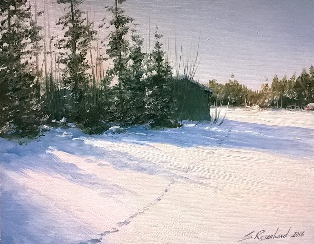 """Traces in the snow"" original fine art by Stig Rosenlund"