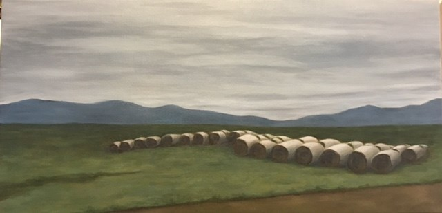 """Hay Bales"" original fine art by Karen Collins"