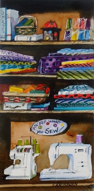 """My Sewing Cabinet"" original fine art by Kathy Los-Rathburn"