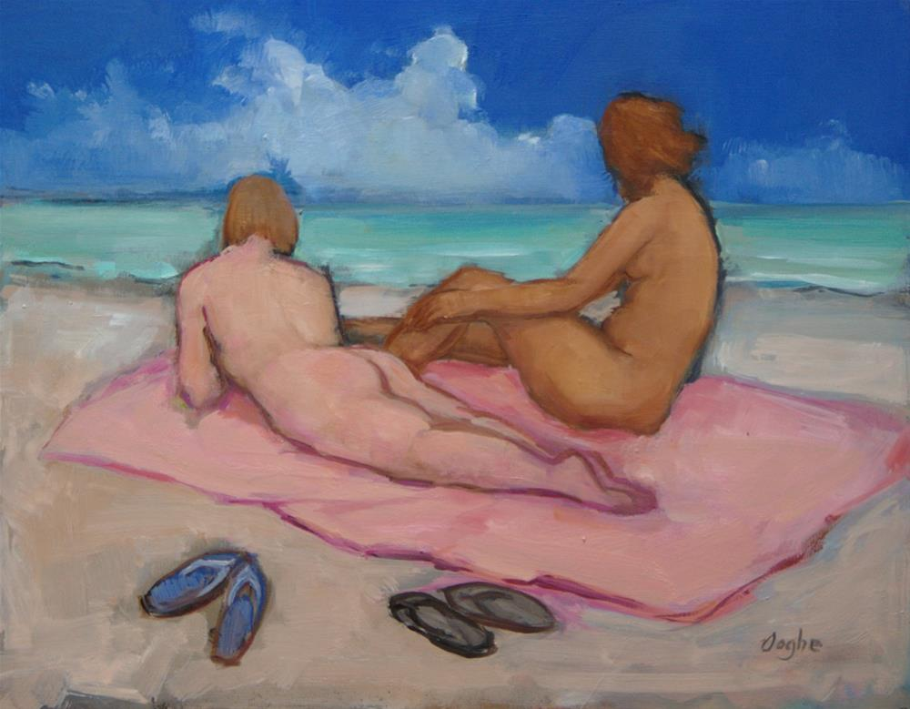 """Nudes on Beach"" original fine art by Angela Ooghe"