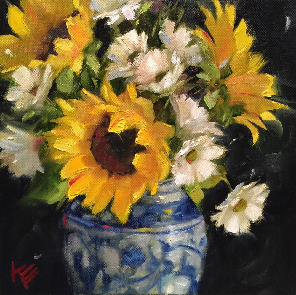 """Sunflowers & Daisies"" original fine art by Krista Eaton"