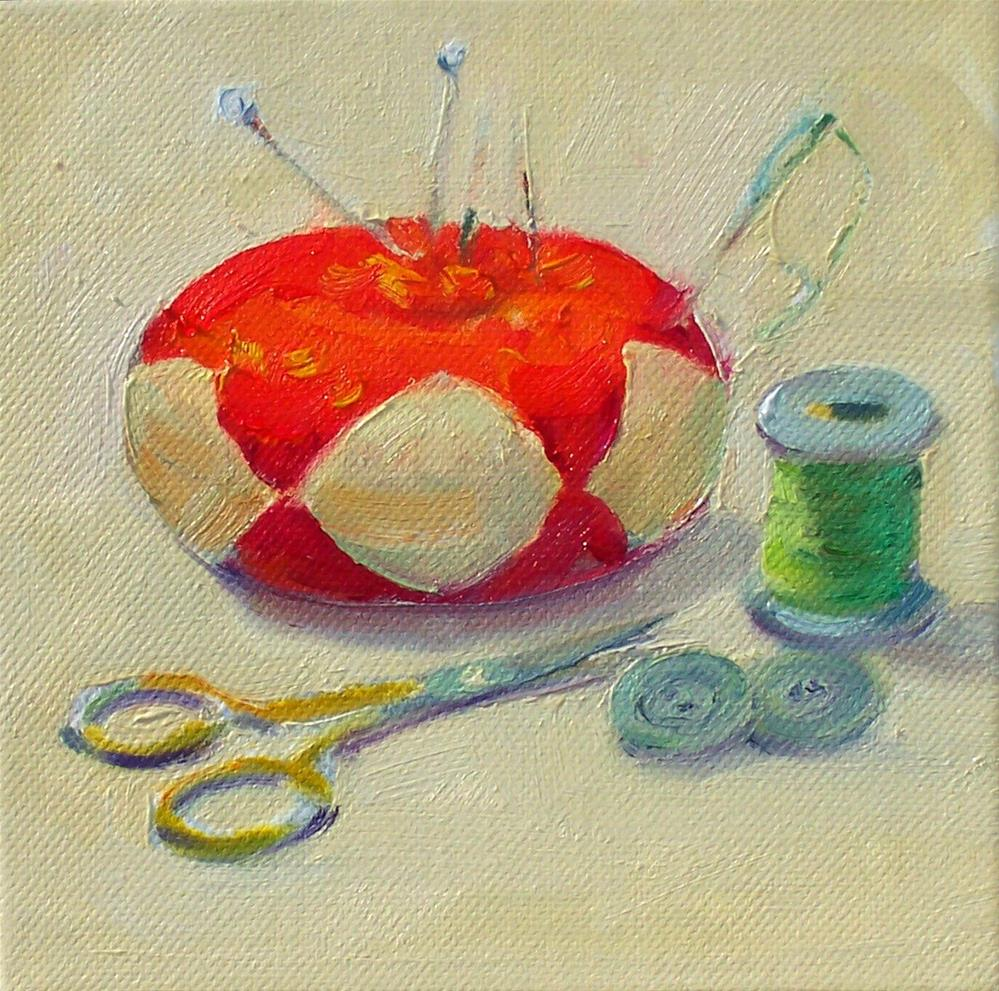 """Sewing Things,still life,oil on canvas,6x6,price$175"" original fine art by Joy Olney"