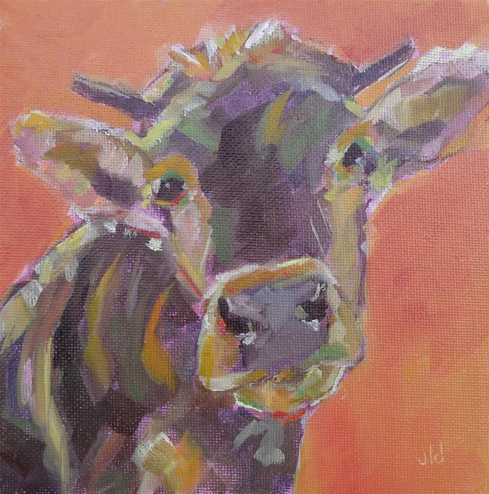 """Cow 57 Is orange my colour?"" original fine art by Jean Delaney"