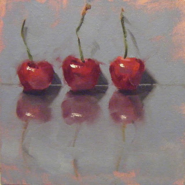 """CHERRY TRIO"" original fine art by Helen Cooper"