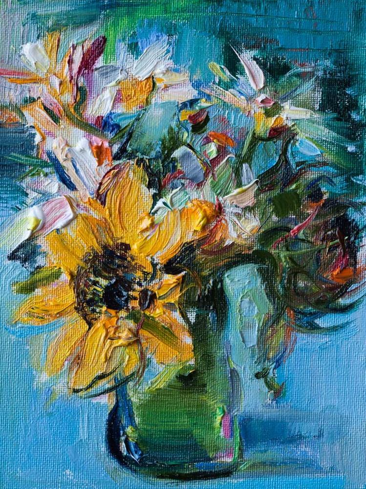 """Bouquet with Sunflower"" original fine art by Anna  Fine Art"