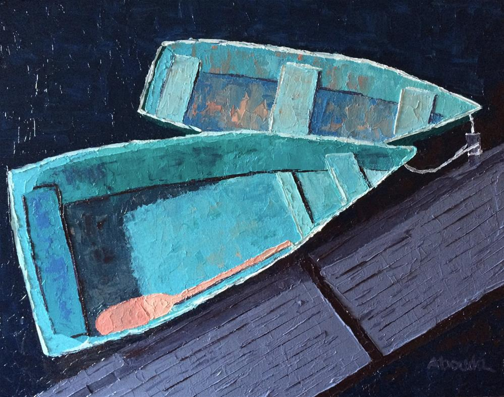 """Rockport Row Boats"" original fine art by Sandy Abouda"