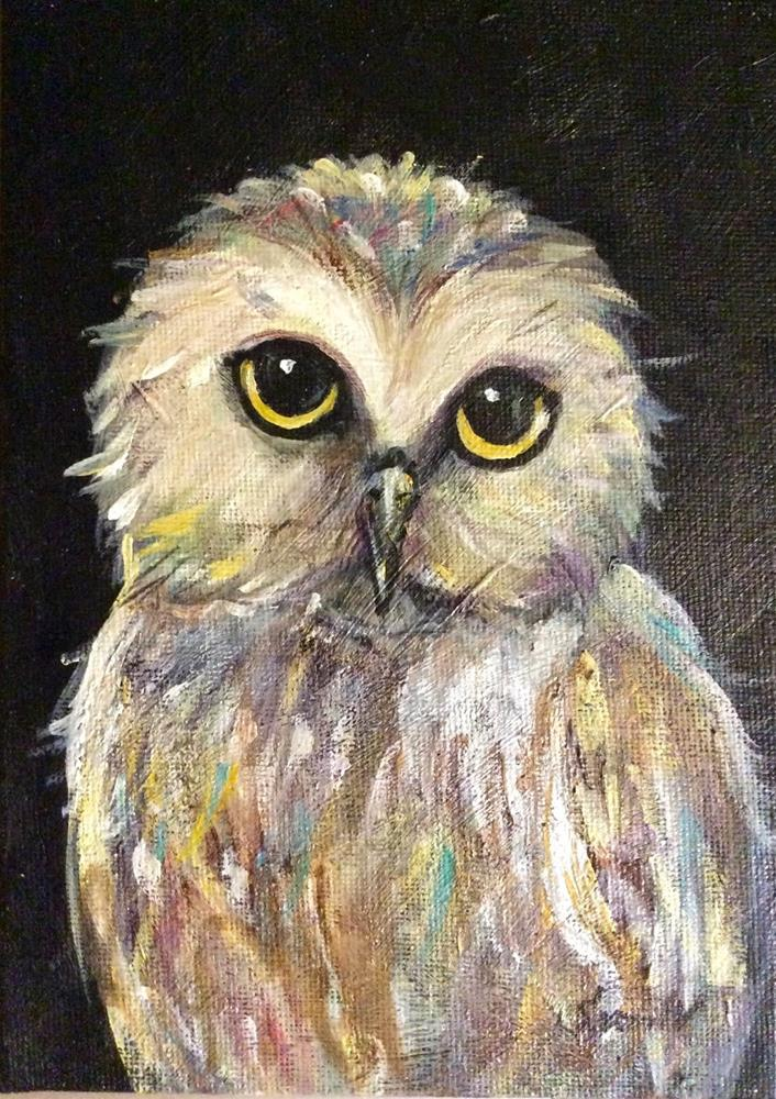 """Owl Painting 3"" original fine art by Sonia von Walter"
