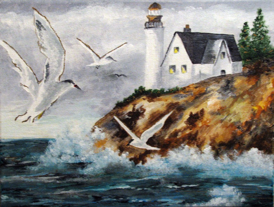 """Coastal Lighthouse"" original fine art by Nan Johnson"