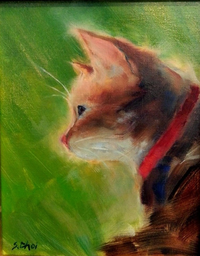 """neighbor cat"" original fine art by Sunkyung Choi"