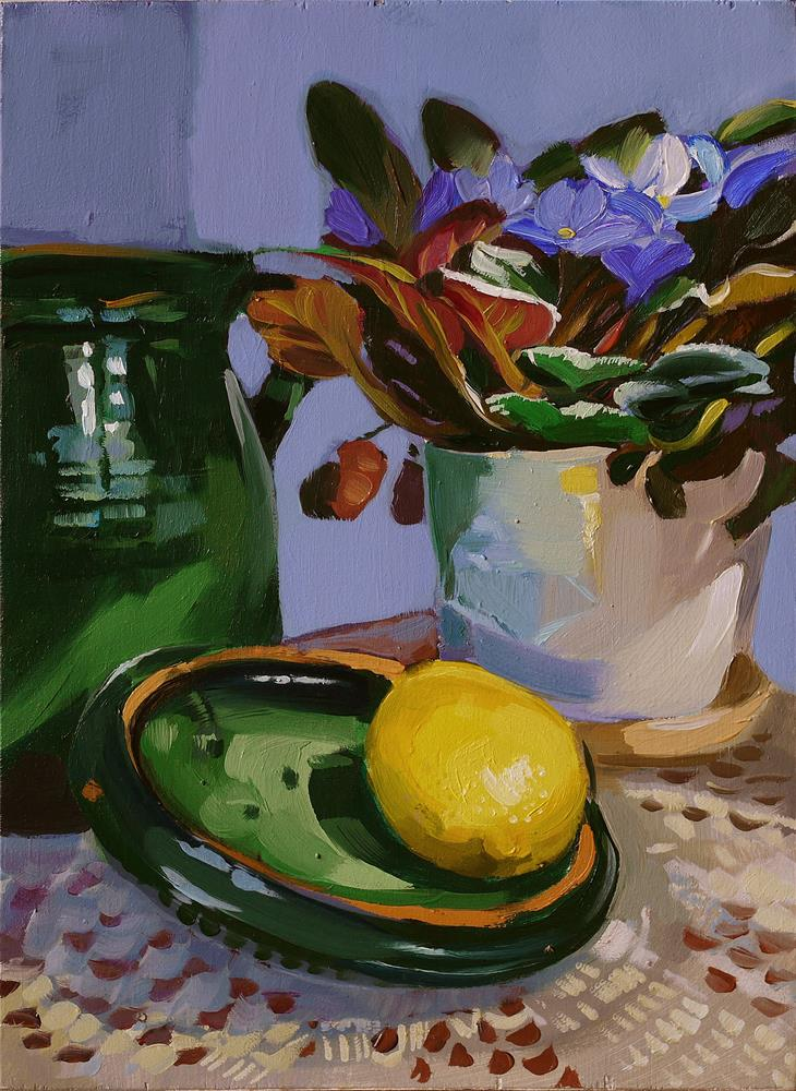 """still life with lemon"" original fine art by Beata Musial-Tomaszewska"