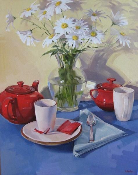 """Suzanne's Daisies A top-secret Christmas commission!"" original fine art by Sarah Sedwick"
