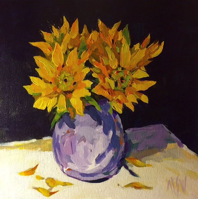"""Sunflowers 12x12 glorious sunflowers in my periwinkle blue McCoy pitcher!"" original fine art by Mary Sheehan Winn"