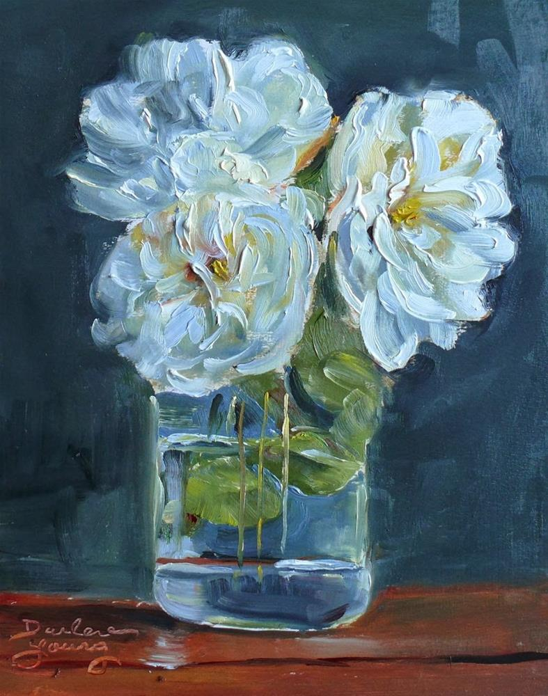 """709 Rememberance White Roses #2"" original fine art by Darlene Young"