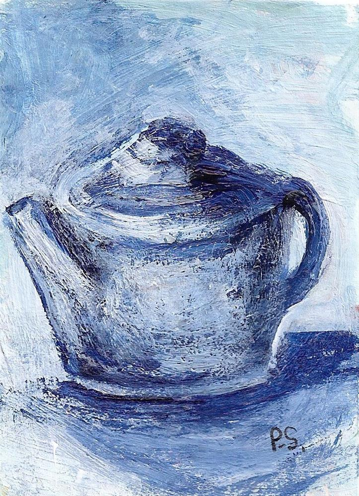 """""""ACEO Blue Teapot Painterly Style Miniature Art Painting by Penny StewArt"""" original fine art by Penny Lee StewArt"""