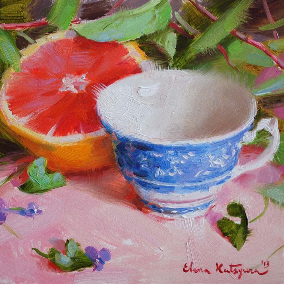 """Cup and Grapefruit"" original fine art by Elena Katsyura"