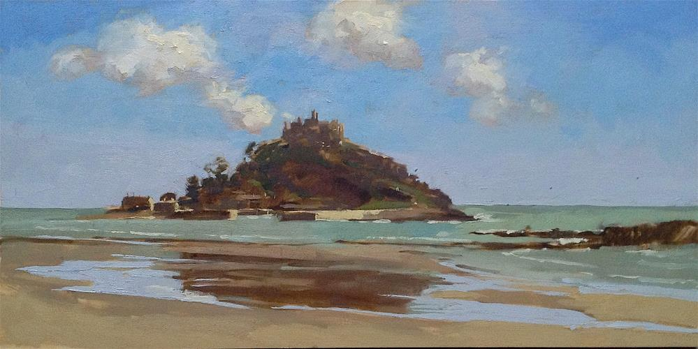 """St Michael's mount, from Marazion"" original fine art by Haidee-Jo Summers ROI"