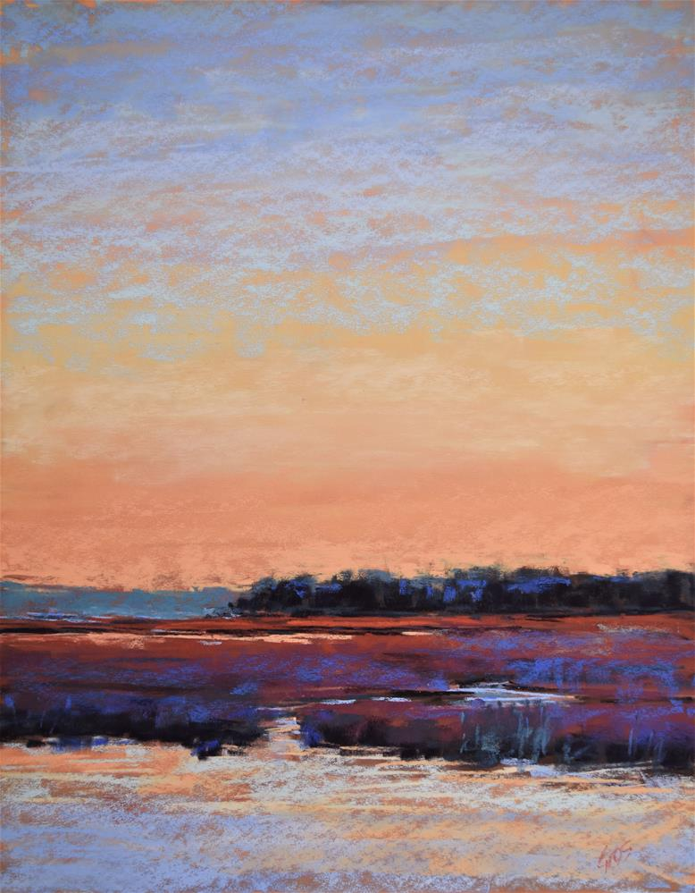 """Sunset in the marsh"" original fine art by Alejandra Gos"