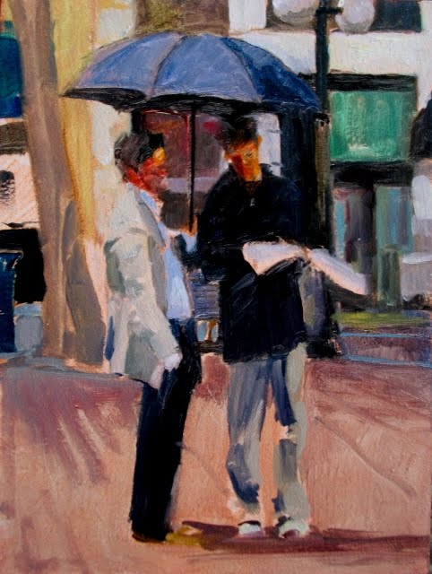 """Bumbershoot Seattle rain shade, figurative oil painting"" original fine art by Robin Weiss"