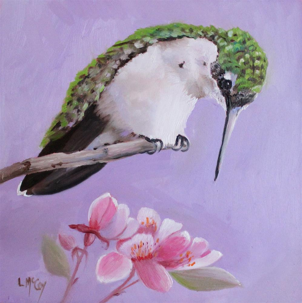 """Tempt, Hummingbird Oil Painting"" original fine art by Linda McCoy"