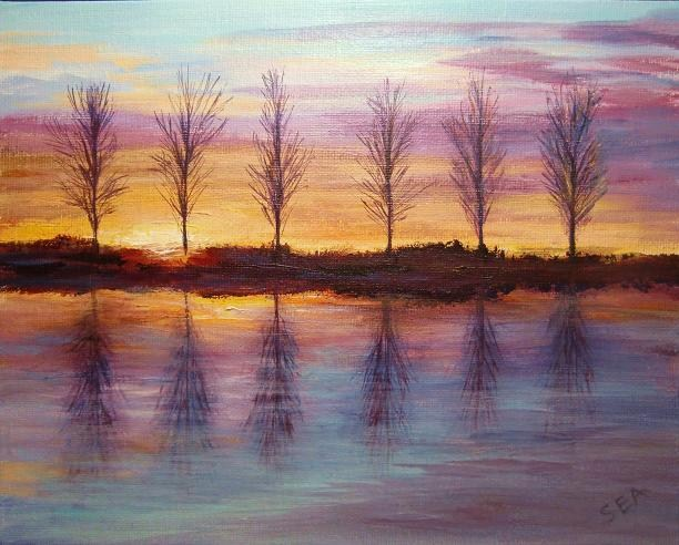 """2113 - Sunset at Mepal"" original fine art by Sea Dean"