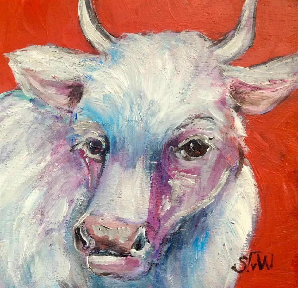 """""""White cow"""" original fine art by Sonia von Walter"""
