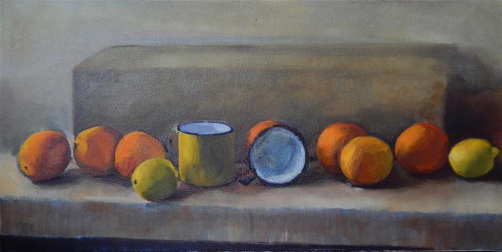 """Incomplete Still Life in Orange and Yellow"" original fine art by Megan Schembre"
