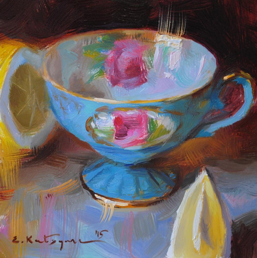 """Sky Blue and Lemon"" original fine art by Elena Katsyura"