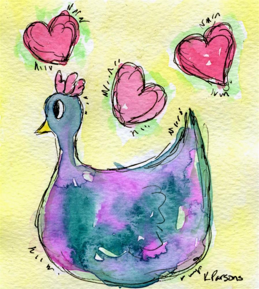 """Love Pecks"" original fine art by Kali Parsons"