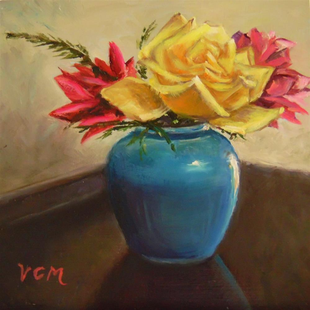 """Rookwood Pottery with Roses"" original fine art by Vana Meyers"