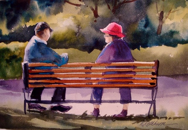 """Old Friends Sat on a Park Bench Like Bookends"" original fine art by Kathy Los-Rathburn"