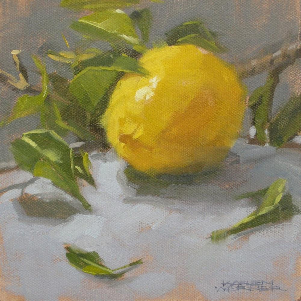 """Lemon & Leaves"" original fine art by Karen Werner"