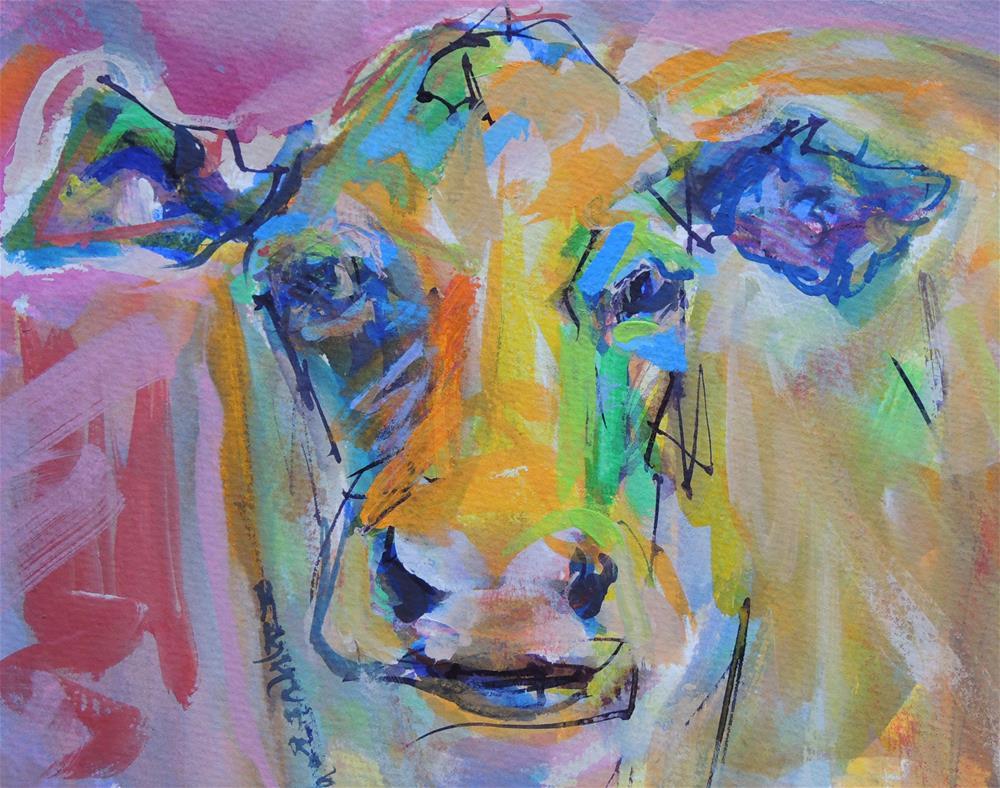 """Colorful Cow"" original fine art by Mary Schiros"