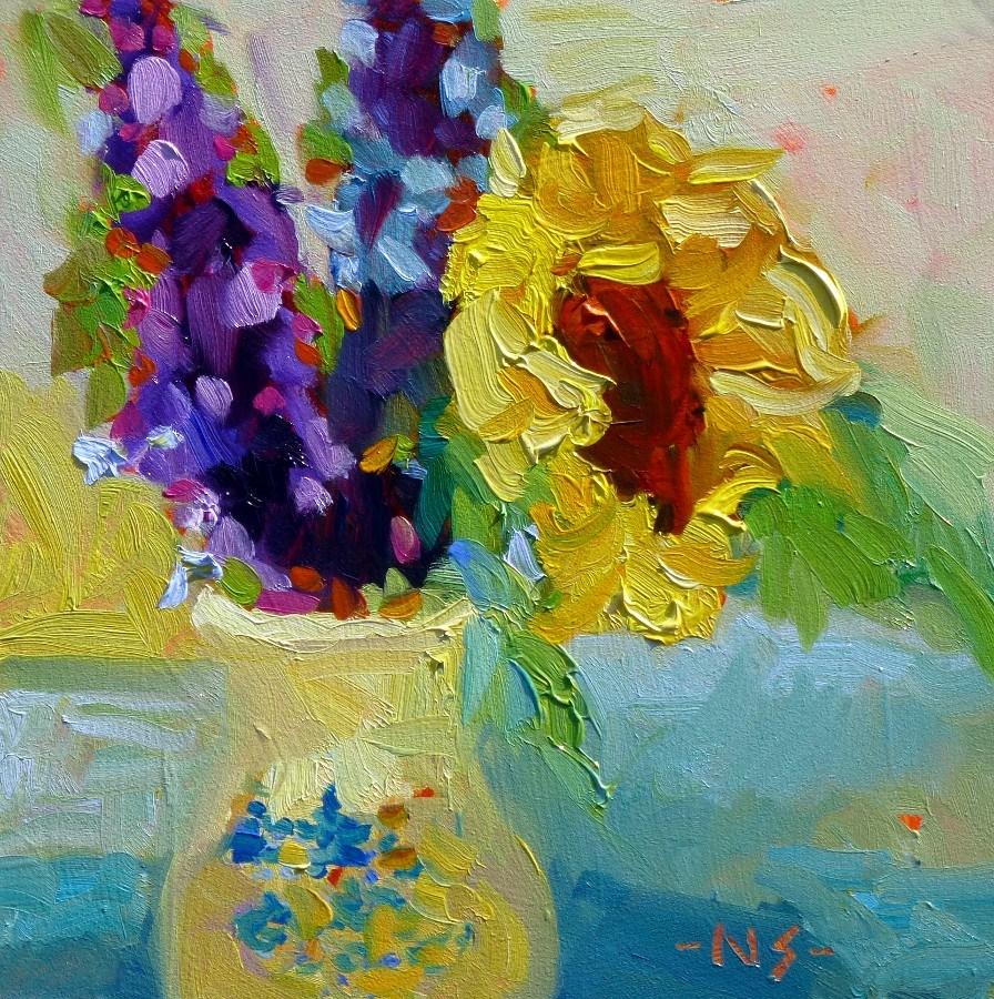 """Happy New Year Sunflower, 13002"" original fine art by Nancy Standlee"