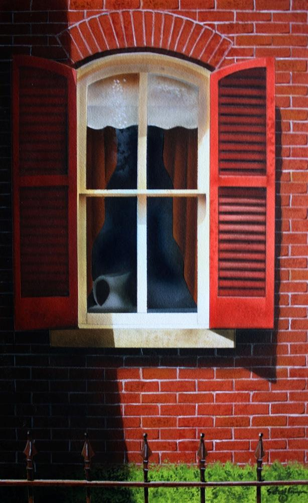 """Window with Red Shutters"" original fine art by Fred Schollmeyer"