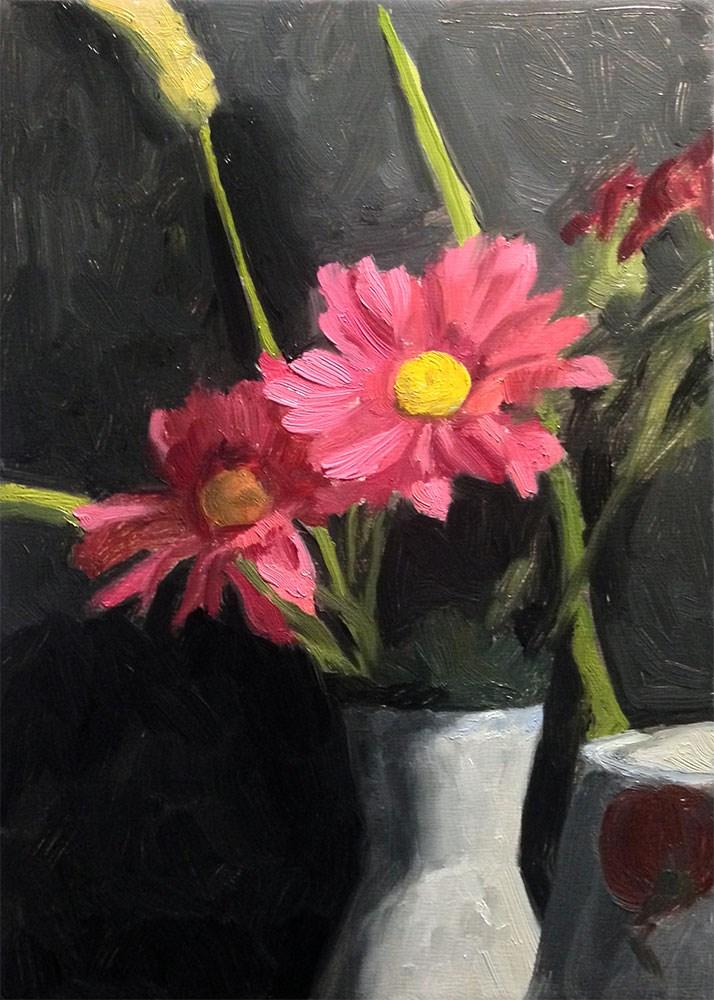 """Red Daisies"" original fine art by Chris Beaven"